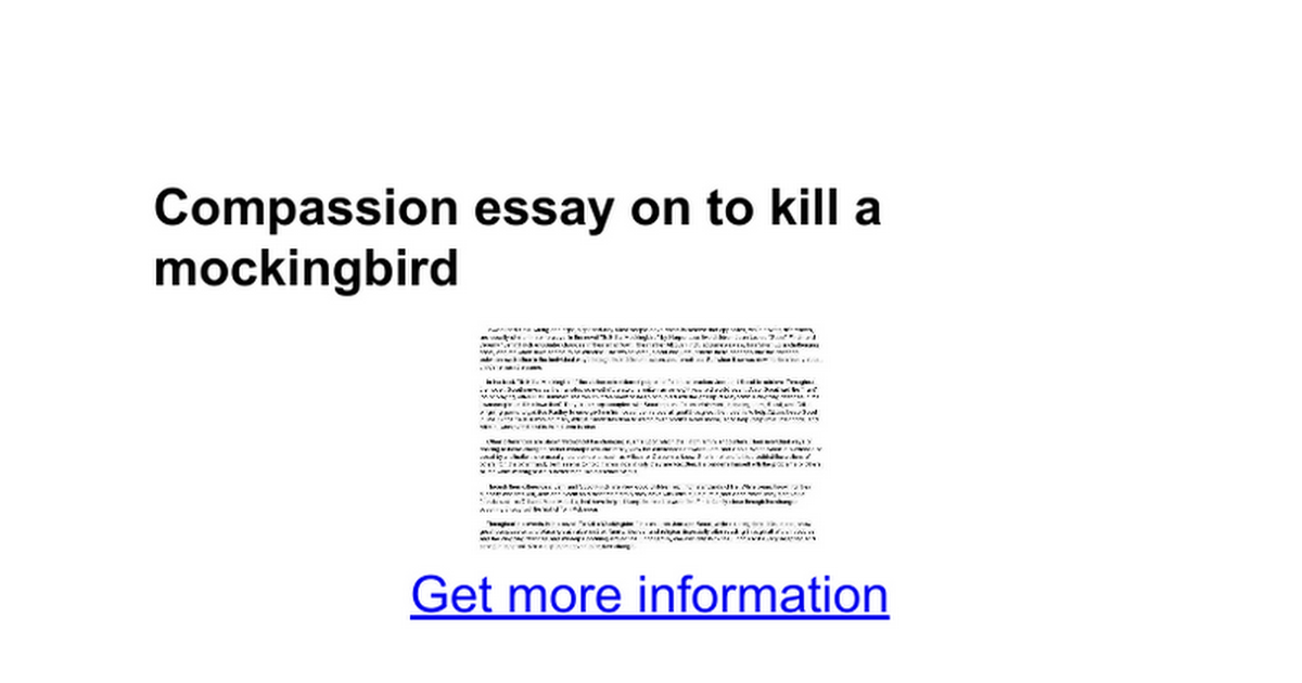 compassion essay on to kill a mockingbird google docs
