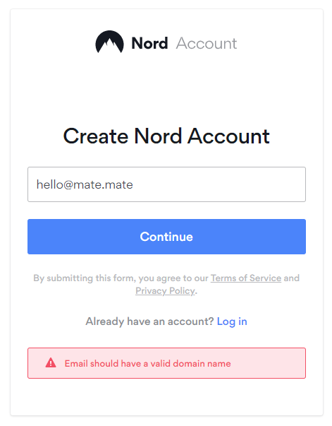 Nord vpn creating account screen