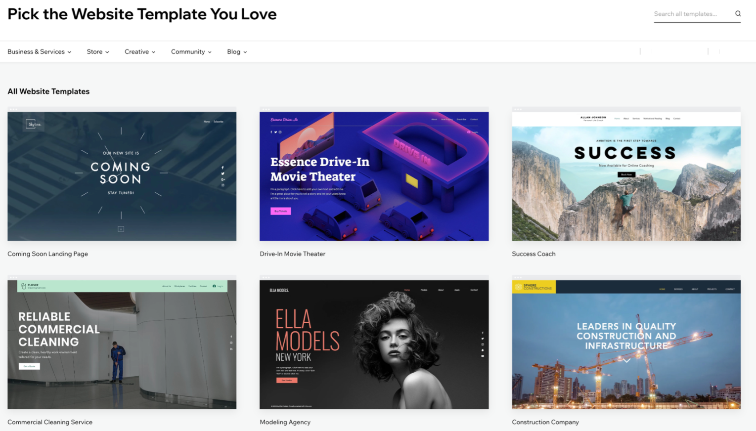 Examples of Free Website Templates, Wix.com