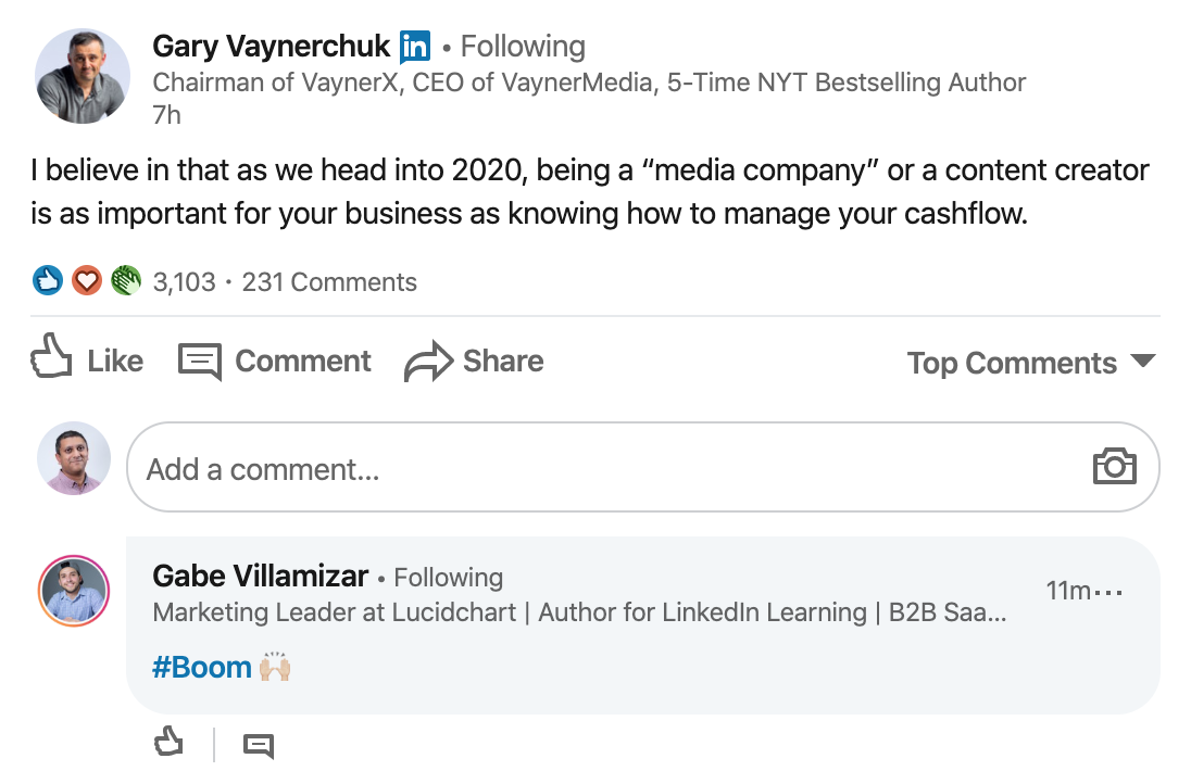 Gary V LinkedIn post offering a quick tip