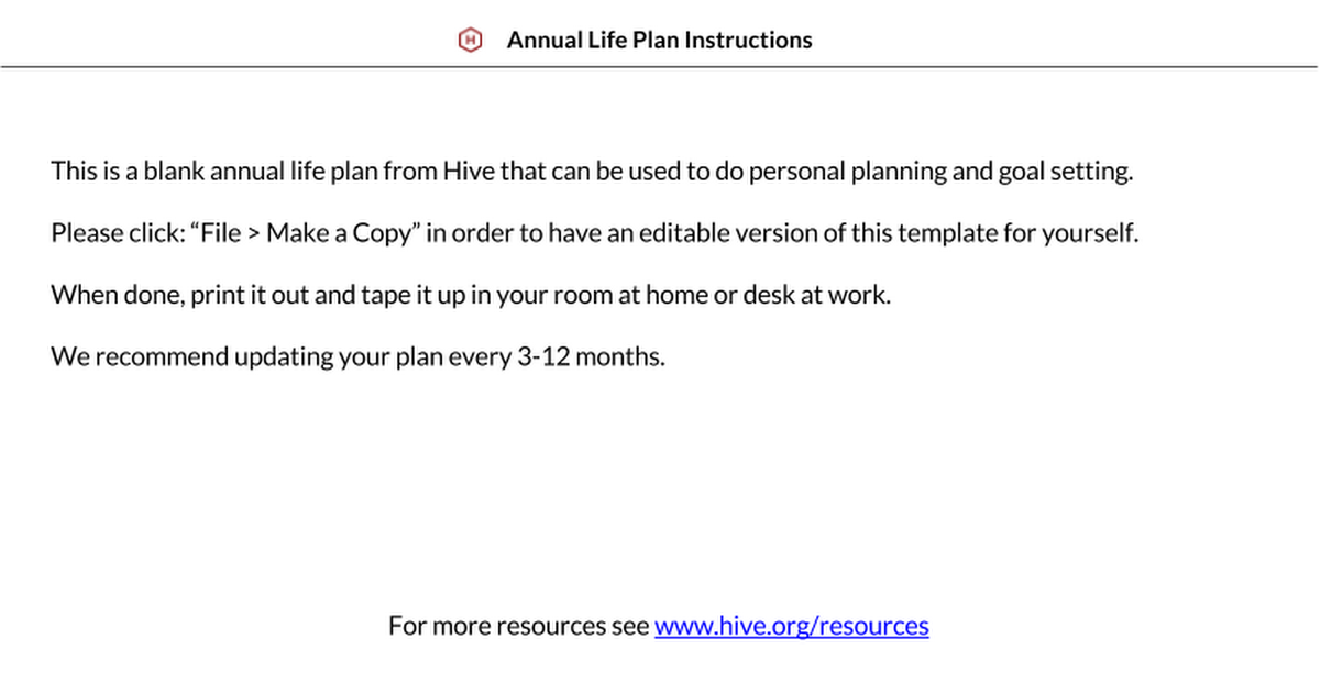 how to make a life plan template plan template