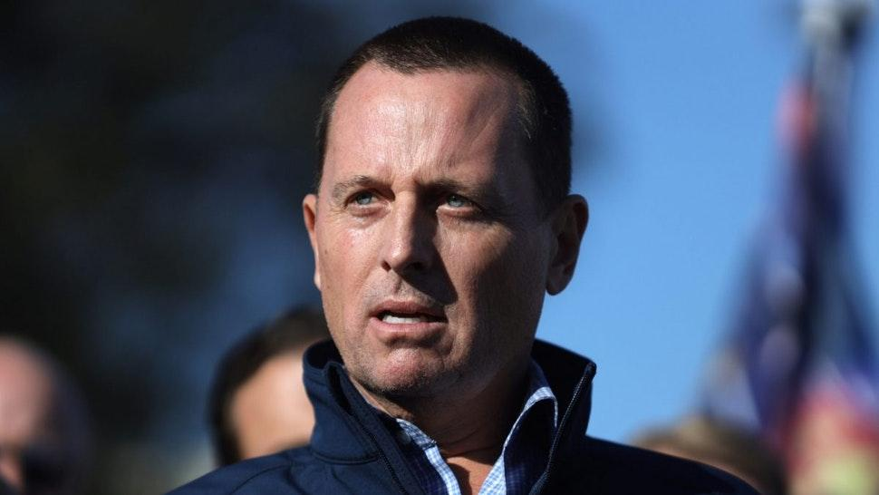 Ric Grenell, former acting director of National Intelligence, center, speaks during a news conference hosted by the TrumpCampaign outside the Clark County Election Department in Las Vegas, Nevada, U.S., on Thursday, Nov. 5, 2020.