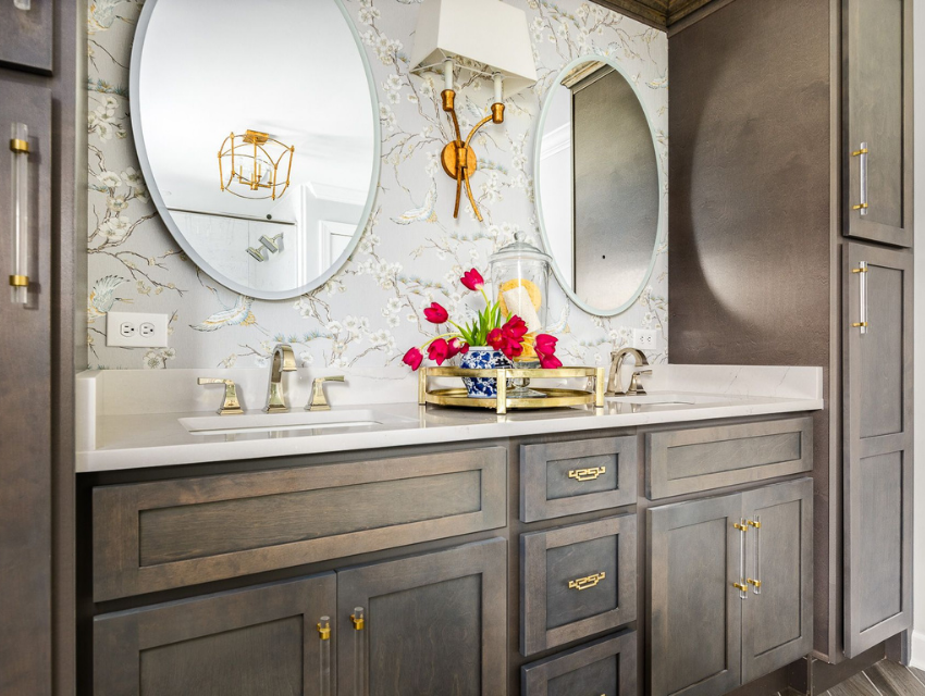 superior construction and design lebanon, tn general contractor cost after bathroom remodel investment pink tulips dark wood cabinetry and light bird patterned wallpaper