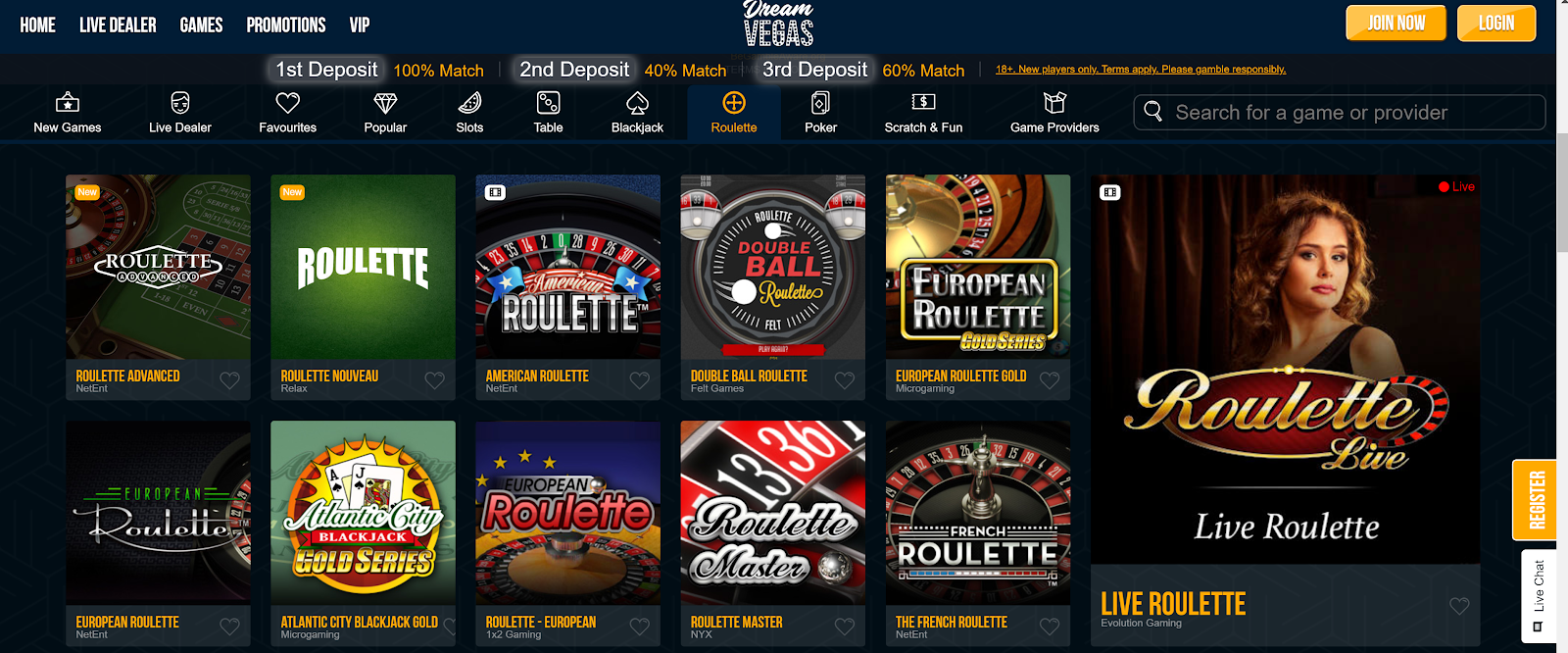 Dream Vegas is one of the best high stakes roulette casinos