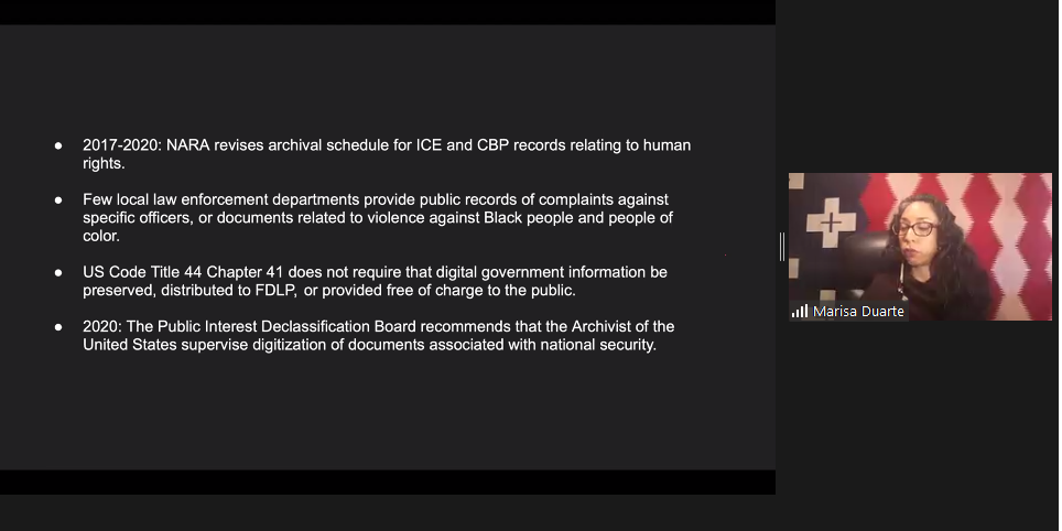 C:\Users\Eric\Documents\Professional\Conferences, Book Reviews and Blog Entries\2020\iCHORA 2020\iCHORA 2020 screenshots\Day 1 - D. Skeem\Duarte_slide about gaps in federal government digital recordkeeping.PNG