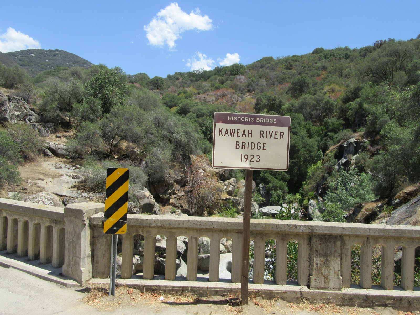 Kaweah River Bridge sign seen while bicycling Mineral King Road.