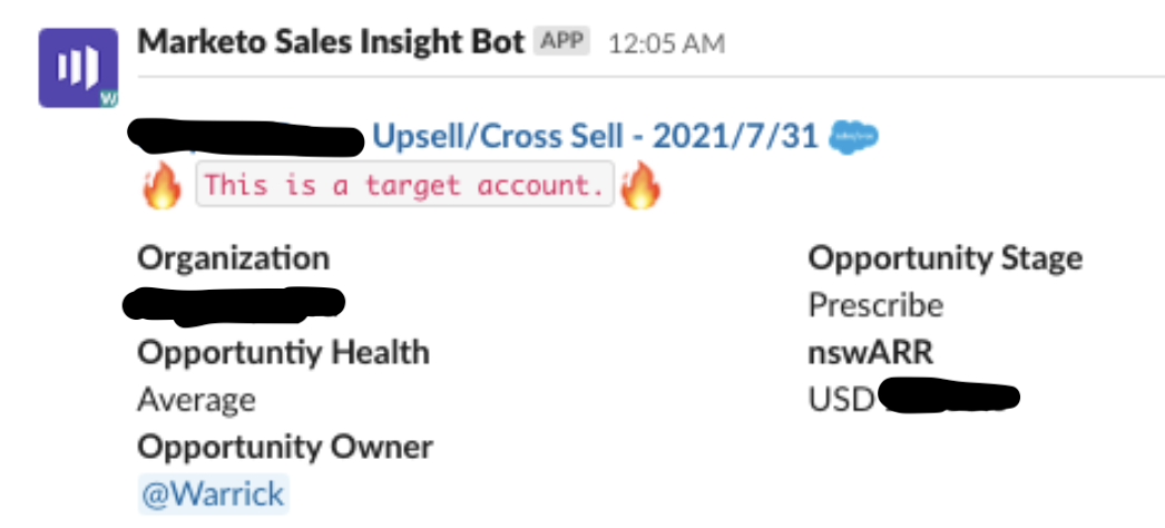 A message from our Marketo Sales Insight Bot that provides context on the lead from its CRM profile