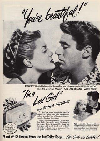 Zeepadvertenties uit de jaren 50 waarin actrices en beroemdheden laten zien hoe Lux voor een stralende, fluweelzachte huid zorgt.