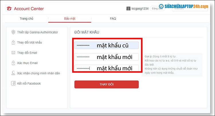 Nhập mật khẩu mới và chọn Thay đổi để hoàn tất quá trình