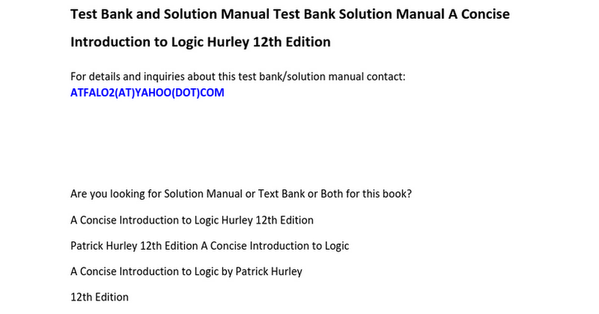 Test Bank Solution Manual A Concise Introduction to Logic Hurley ...