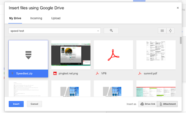 Google Drive Attachment