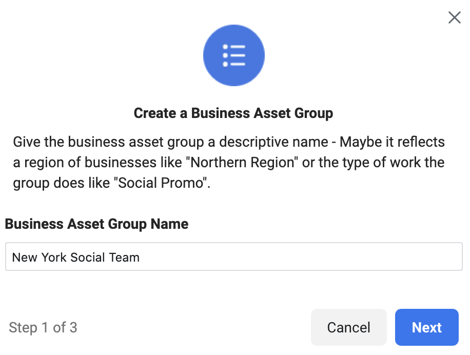 Naming  your business asset group