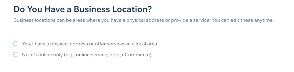 business location on wix