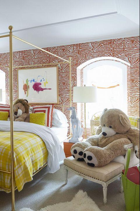 Bedroom, Bed, Furniture, Room, Yellow, Bed frame, Property, Interior design, Product, Bed sheet,
