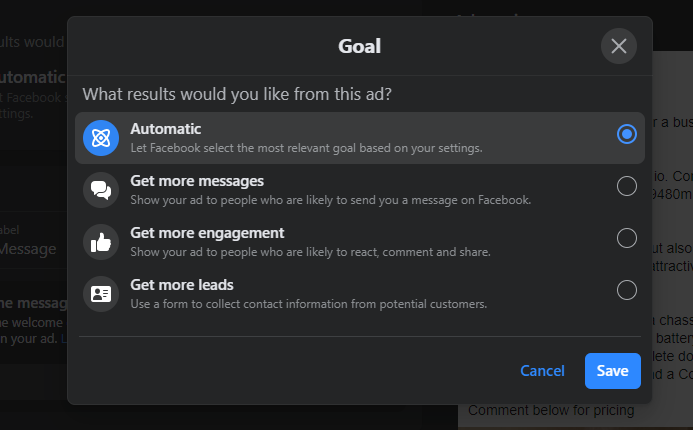facebook boosted ad objectives