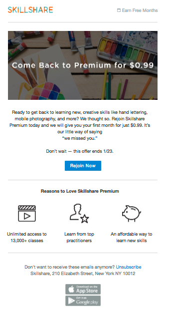 An example of a Skillshare winback email