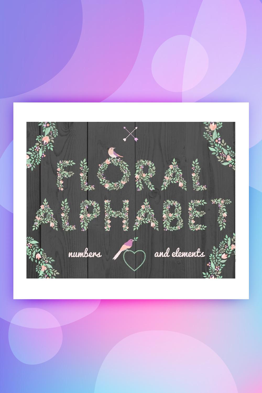 Floral Alphabet and Elements Illustration