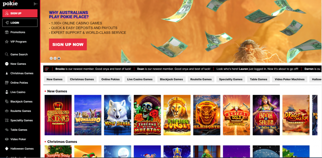 Pokie Place Home page