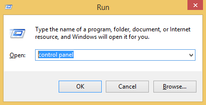 Open control panel by Run