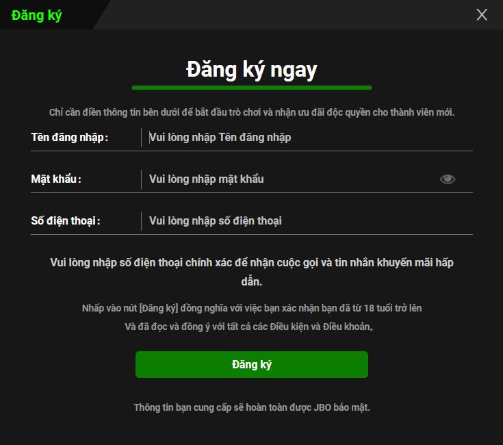 Đối tượng khách hàng tham gia khuyến mãi đăng ký trò chơi JBO