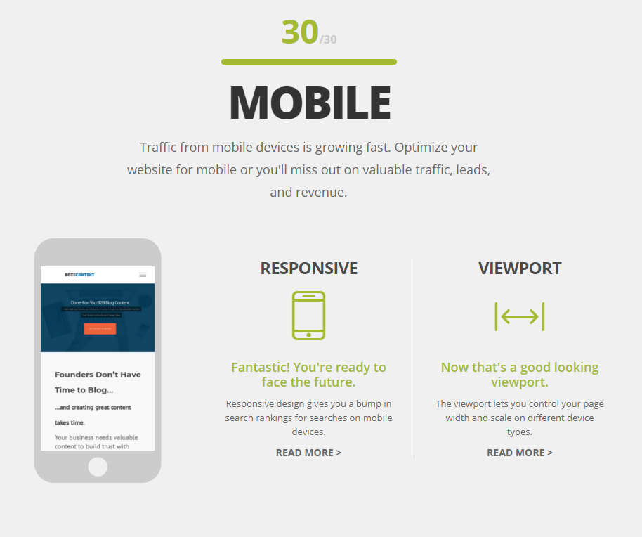 HubSpot Website Grader mobile