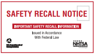 Safety Recall Notice sign