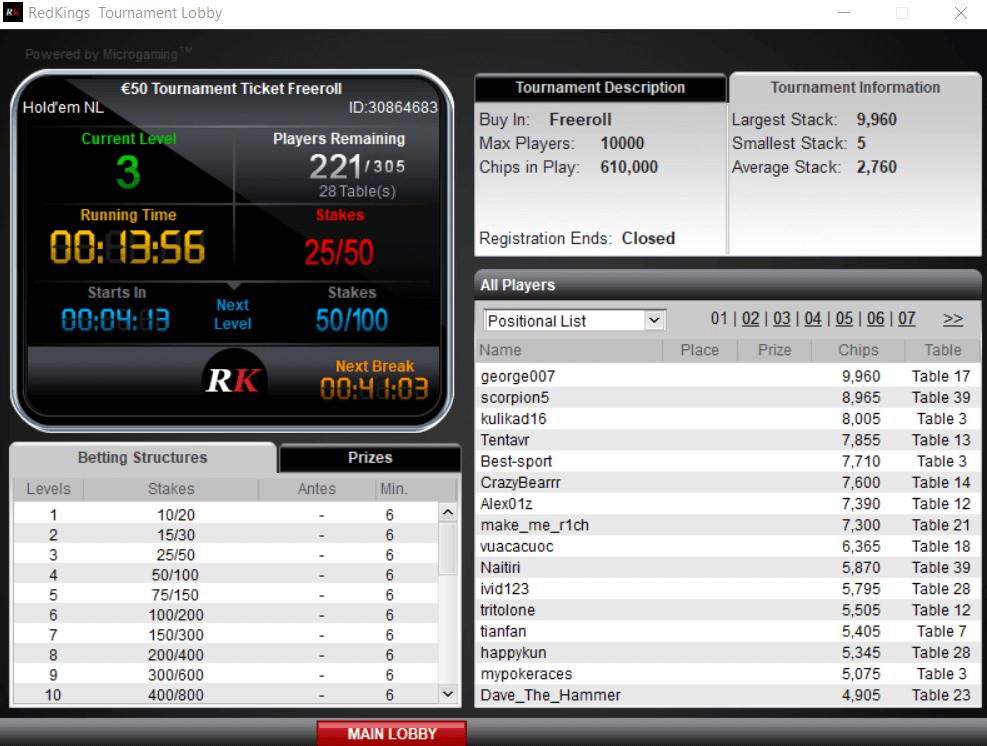 RedKings Poker лобби игроков