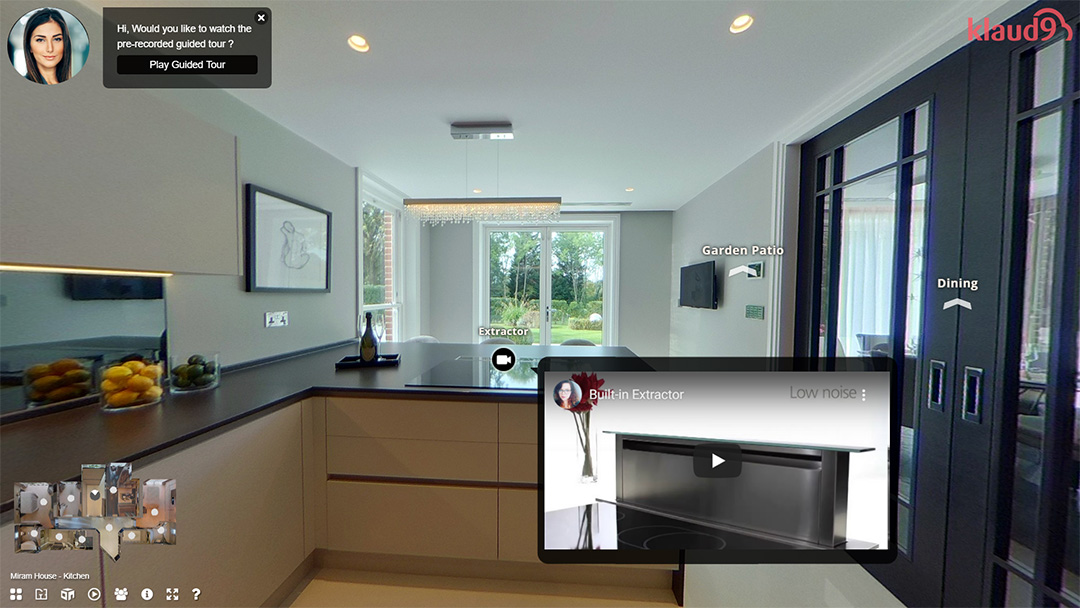 virtual tour of a kitchen, with feature video