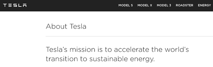 Tesla mission statement to accelerate the world's transition to sustainable energy