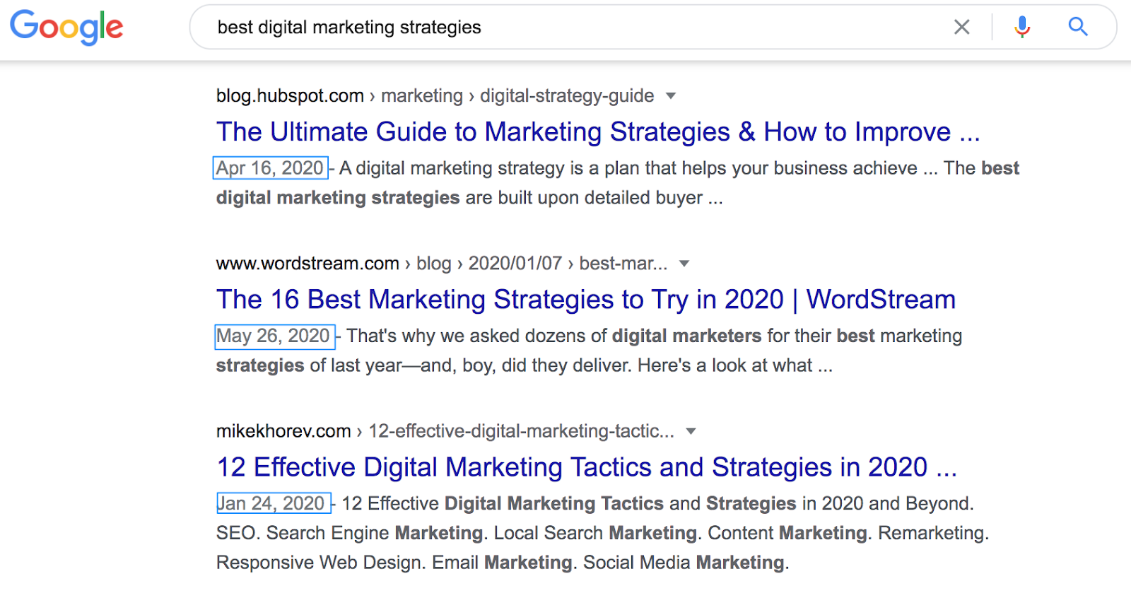 """Best Digital Marketing Strategies"" SERP"