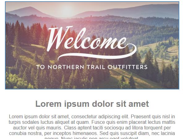 Capture d'écran montrant l'image de Bienvenue chez NorthernTrailOutfitters dans le bloc de contenu de l'image.