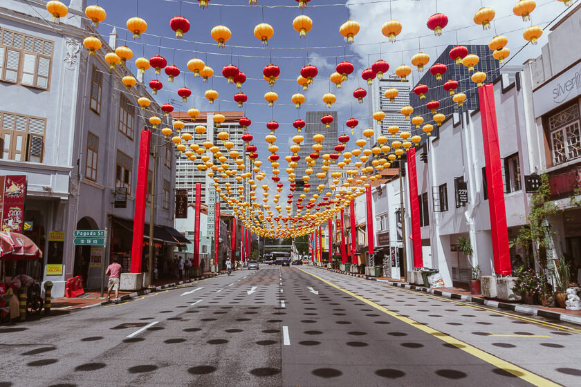 Lanterns hanging above a street in Singapore's China Town.