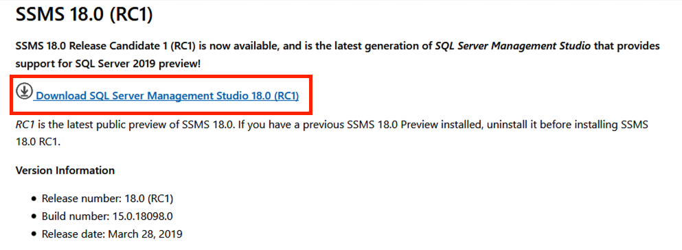 SSMS Version 18.0 (RC1) with Download option highlighted