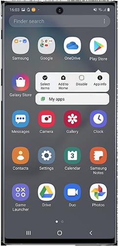 App Settings menu on Galaxy Note10 screen