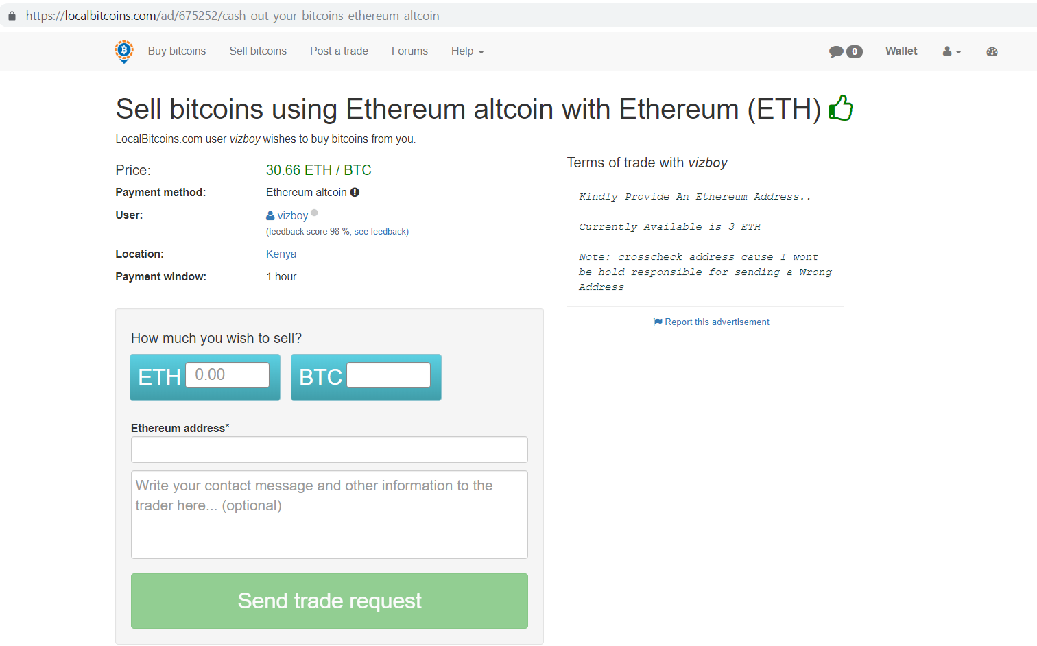 Localbitcoins.com sell bitcoins using ethereum Altcoins with ethereum (ETH).