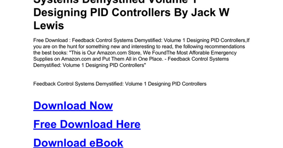 feedback-control-systems-demystified-volume-1-designing-pid