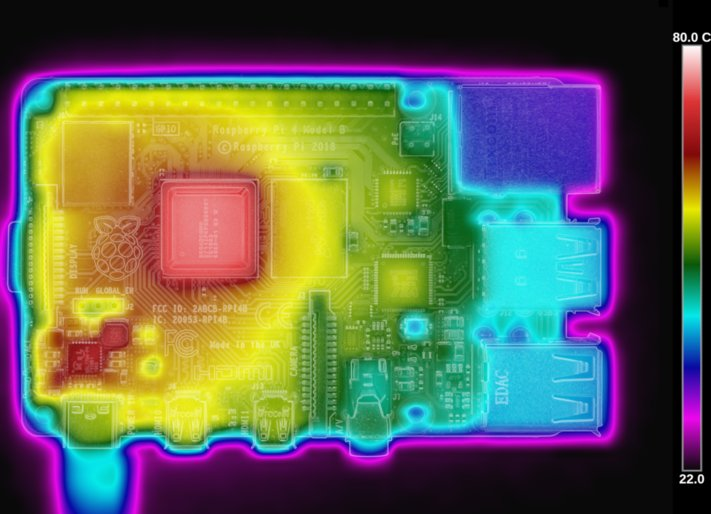 Thermal image of Raspberry Pi 4 B. (Credit: Gareth Halfacree)