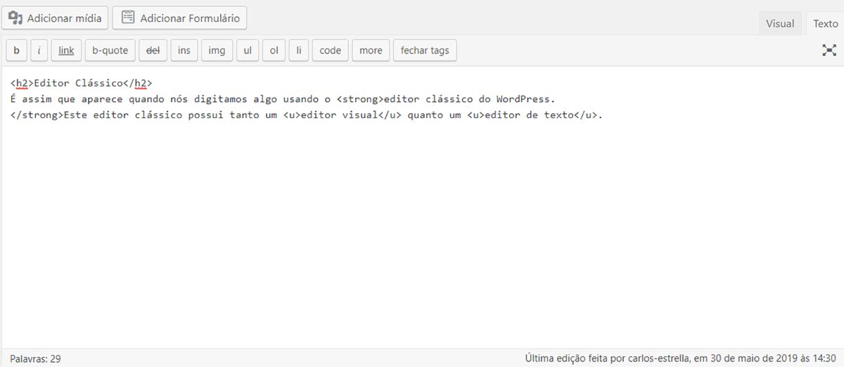 Exemplo de texto escrito no editor HTML do WordPress clássico