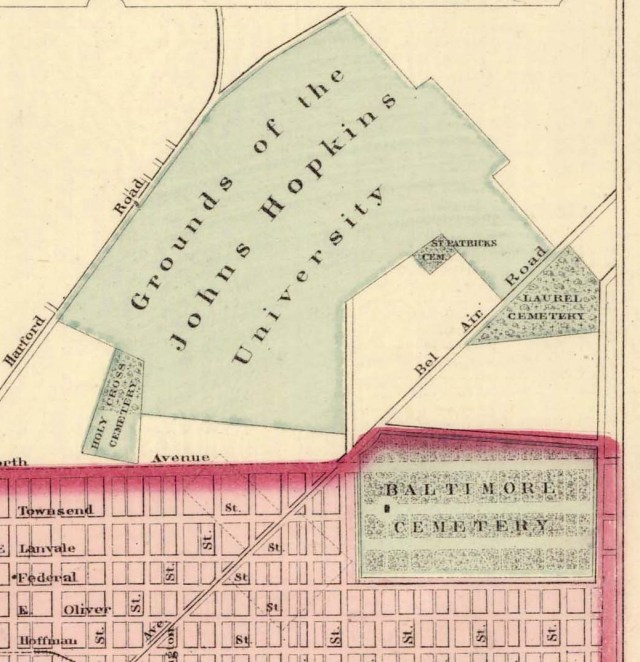 Location of Laurel Cemetery. Detail from Frank A. Gray. New Map of Baltimore, 1876. Maryland State Archives, MSA SC 1427-1-28