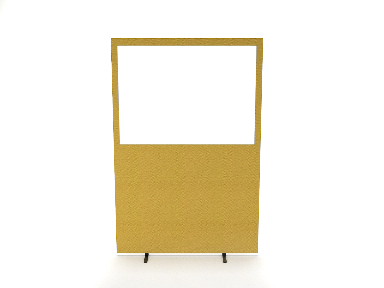 Impulse Plus Perspex Half Vision Partition Office Screen 1200 / 1600 with free standing feet, upholstered in beige fabric and including a clear acrylic glazed panel in the top half that creates privacy and allows a view of the surroundings.
