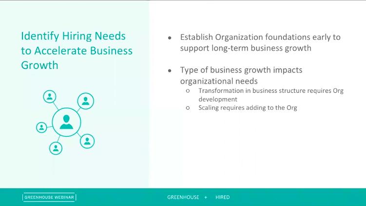 Sample slide on identifying hiring needs from the Digging Deep: Growing Responsibly webinar