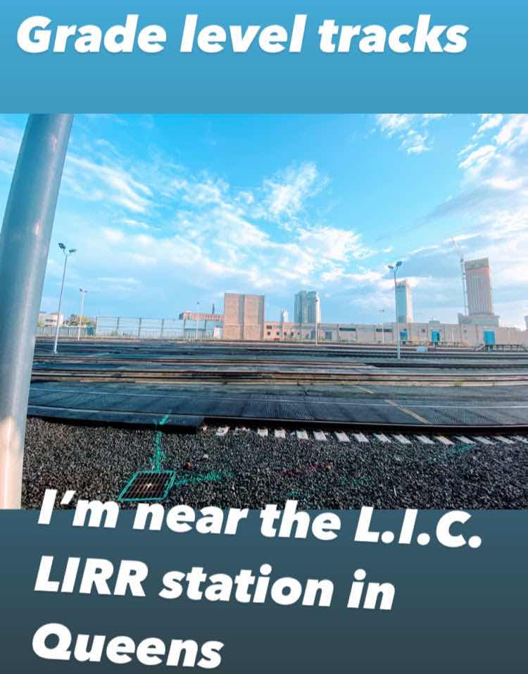 Depicts grade level commuter rail tracks that carry Long Island Railroad trains to Long Island City in Queens