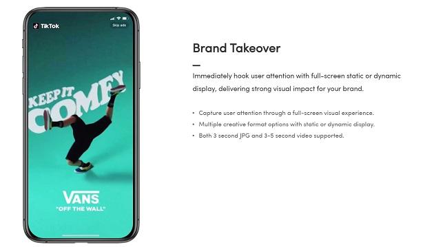 A screenshot of a Brand Takeover ad on TikTok.