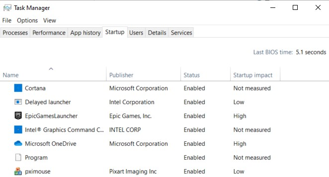 Startup tab and the processes that run on system startup in the Task Manager