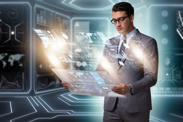 Businessman in big data management concept Premium Photo