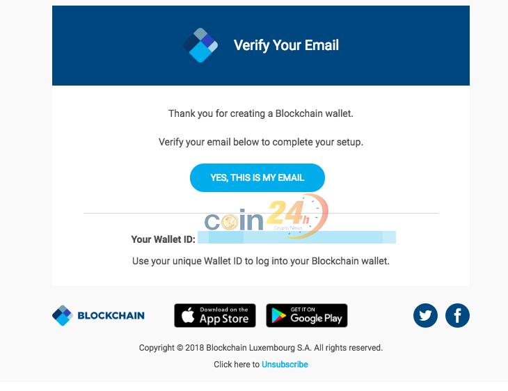 Hướng dẫn sử dụng XLM trên ví blockchain.com -  xác minh email