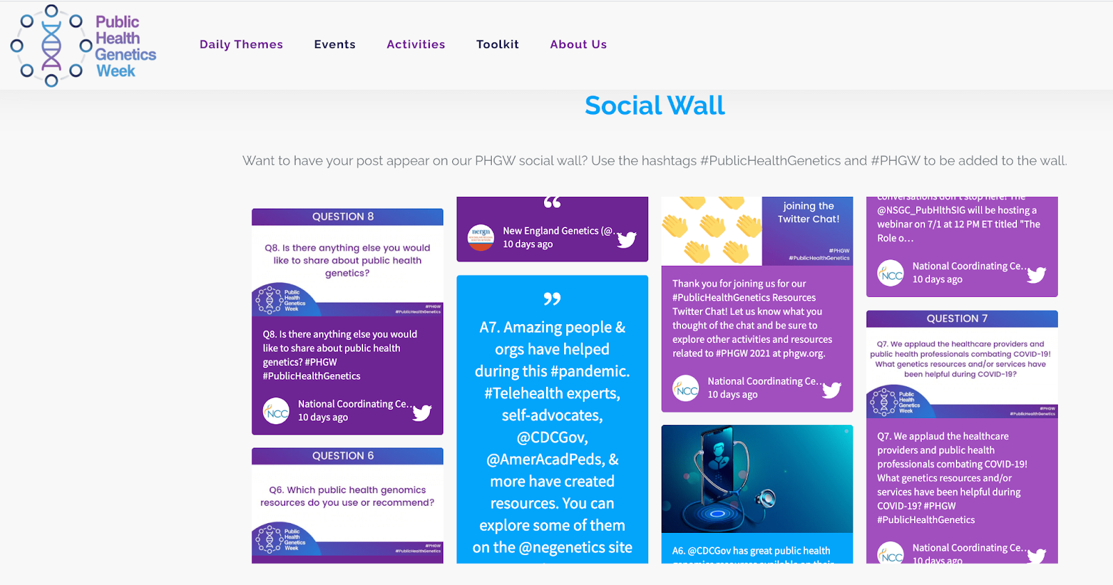 Screenshot of PHGW's website. The image shows a social wall with multiple tweets.