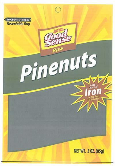 Front Label, Good Sense Raw Pinenuts NET WT. 3 OZ. (85g)