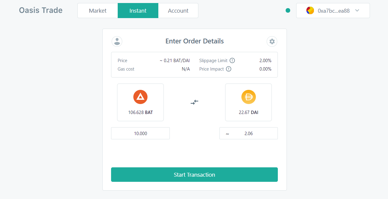 Oasis Instant helps make an introduction to decentralized cryptocurrency trading simple.