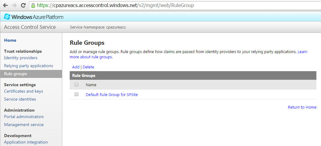 Azure ACS  Rule Groups